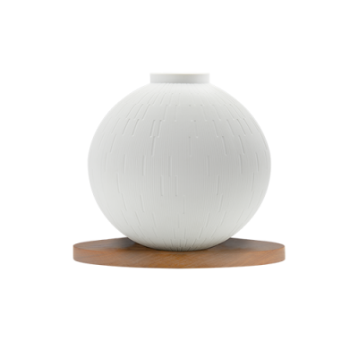 Packshot vase infini sphere sue son socle en bois