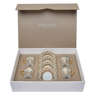 coffret 4 tasses et soucoupes café collection tiara