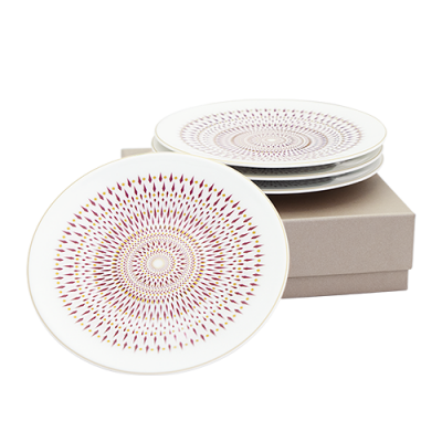 Coffret de 4 assiettes gourmandises collection magnolia